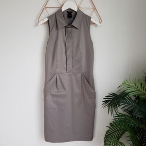 Ann Taylor Gray Shirt Shift Dress with Pockets, 6